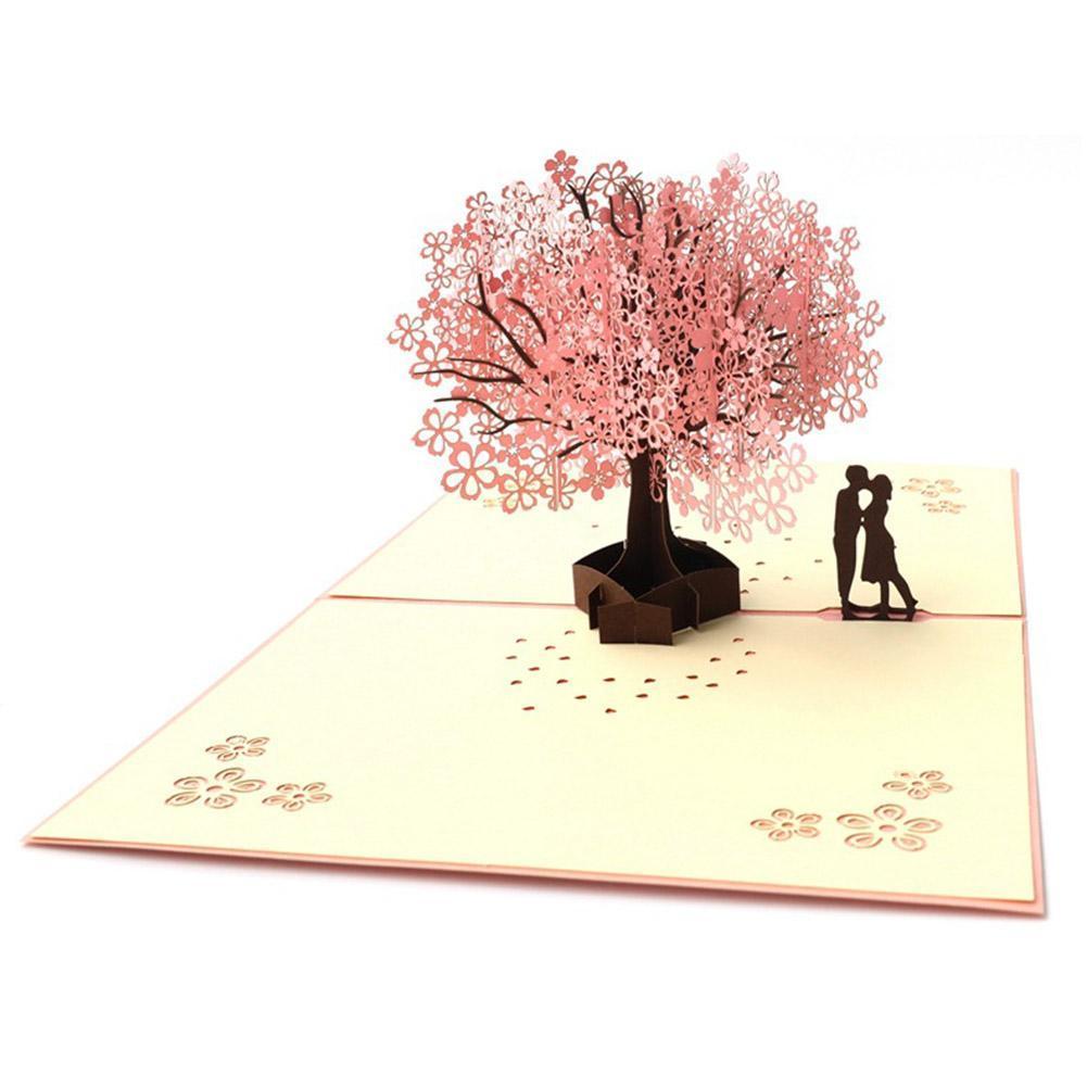 3D Up Cherry blossoms Card Birthday Wedding Valentine Anniversary Greeting L4Q7