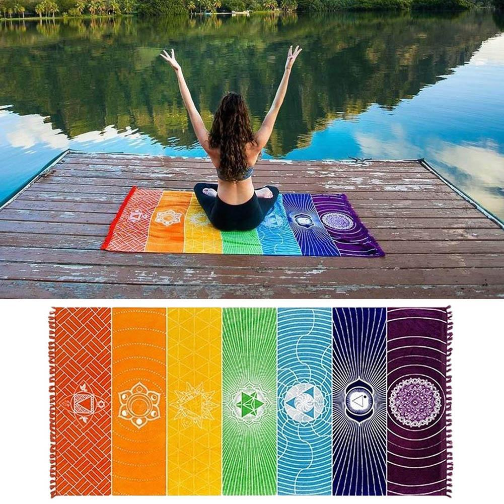 1PC Rainbow Mandala Blanket Tapestry Stripe Travel Beach Yoga Mat Lady Shawl