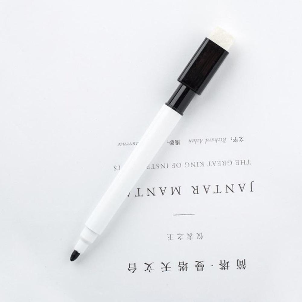 10x Whiteboard Marker Schwarz Dry Wipe Erase Magnetstift Radiergummi Deckel H3X6
