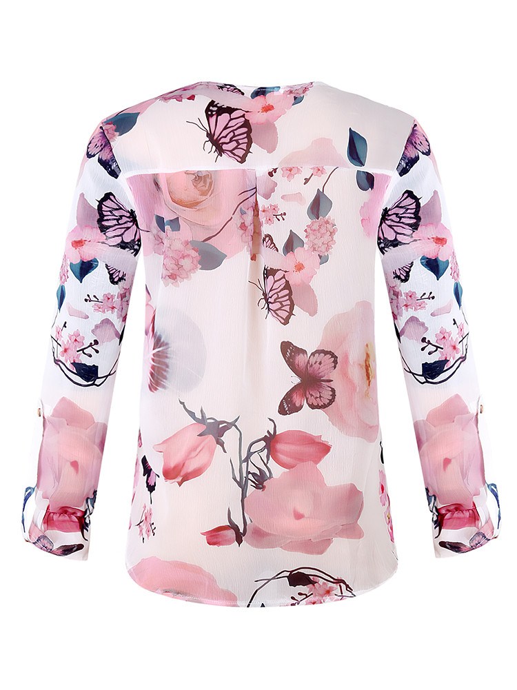 4551a123 Details about Women Chiffon Loose Butterfly Floral Print LongSleeve Casual Button  Blouse Tops