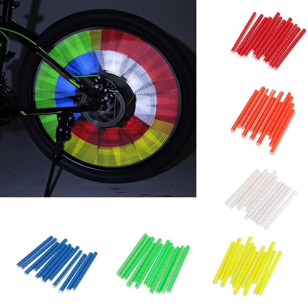12Pcs Bike Bicycle Wheel Spoke Reflector Reflective Mount Clip Tube