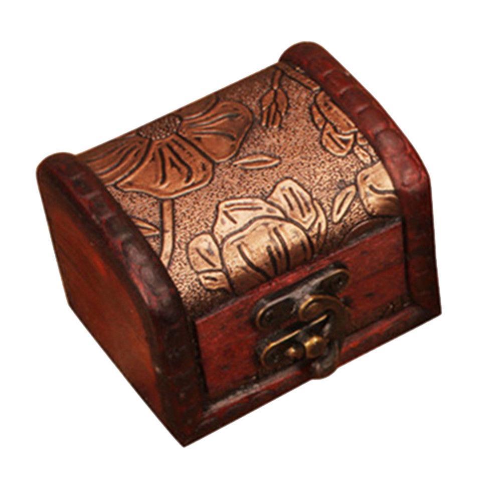 Holz Handgefertigte Schmuckschatulle Kleine Ring Organizer Lagerung Schmuck I0V5