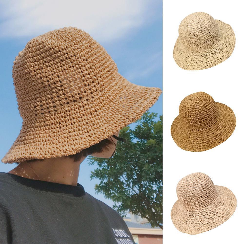 Chic Women Lady retro Summer Flower Brim Beach Travel Straw Sun Bucket Hat Cap