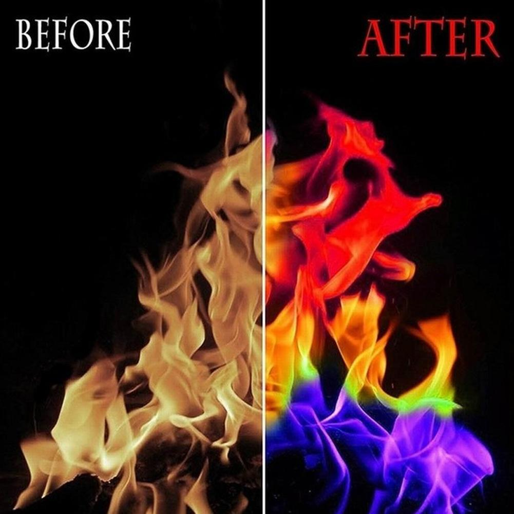 Mystical Fire Powder Magic Dust Creates Colours in Burn Flames Show Light F4E3