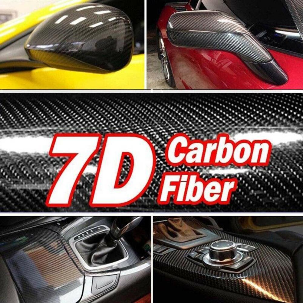 7D Premium HIGH GLOSS Black Carbon Fiber Vinyl Wrap Bubble