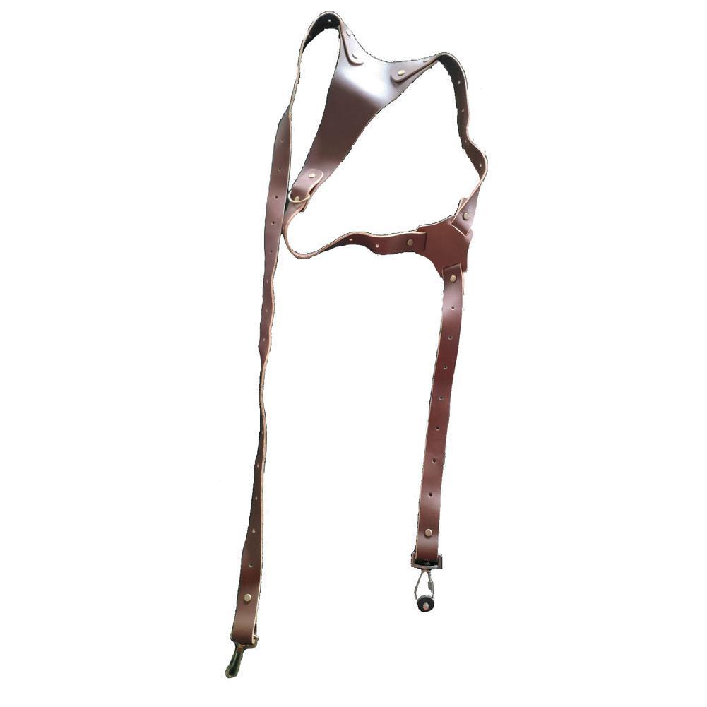 Arnés de Doble Cámara Correa de cuero marrón de fácil apertura hombro Tamaño Ajustable