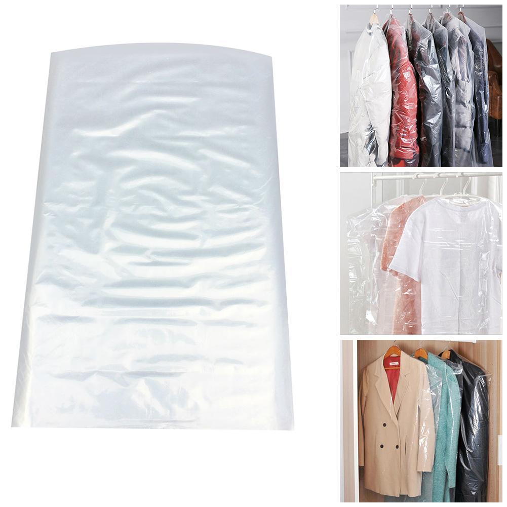 50x Plastic Clear Polythene Garment Dust Cover Dry Clothes Bag New Dress Cl S2G0