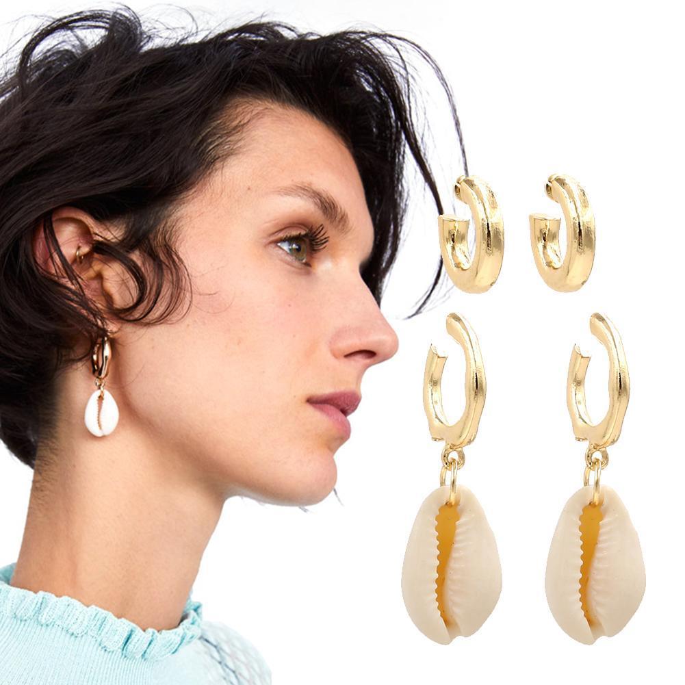 ein Paar Muschelohrringe Ohschmuck Kaurimuschel Ohrringe Perlen Dame Strand  Neu