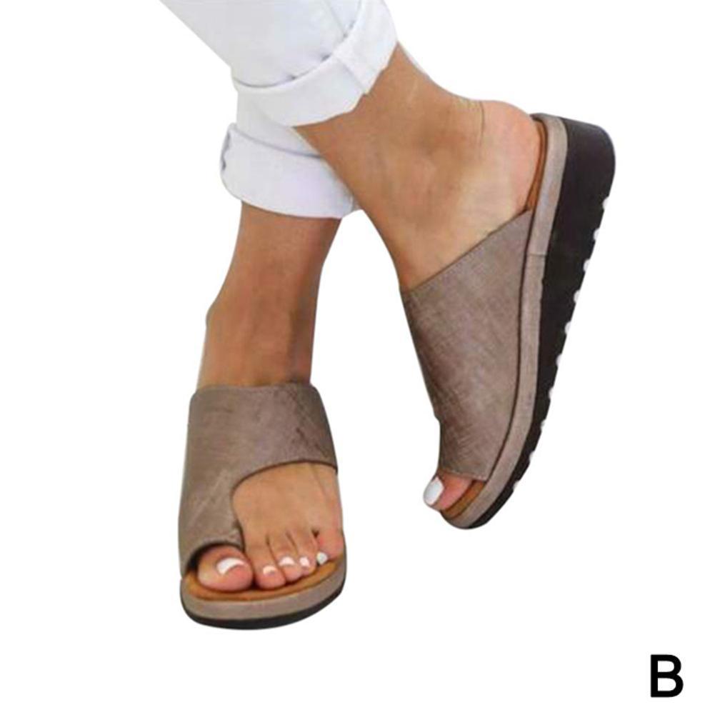 Details about Women PU Leather Comfy Platform Sandals Shoes Beach Shoes with Bunion.Corrector