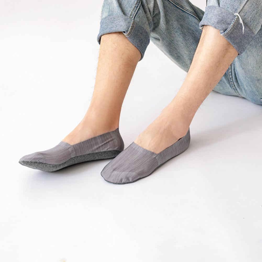 5 Pairs Men Casual Cotton Loafer Boat Non-Slip Invisible Low Cut Men Socks T4O5