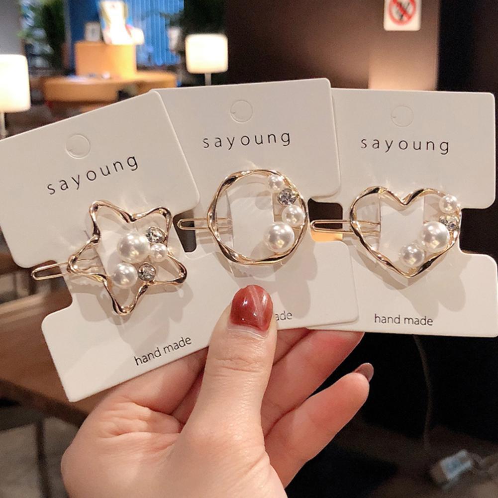 Damen Mädchen Clips Kristall Gold Silber Perle Brief Haarnadel Haarspange H B5L4