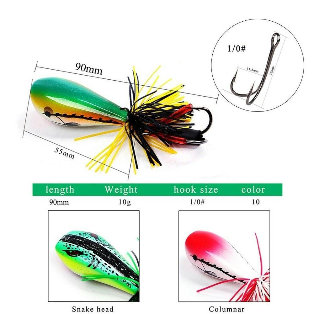 Jumping Frog Lure Topwater Lure 90mm 10g Double Strong Jump Action N2F5 Hoo Q3R8