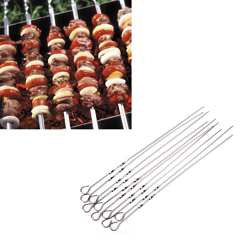 10PCS Stainless Steel BBQ Utensil Skewers Barbecue Kabob Needle Camping Fork US