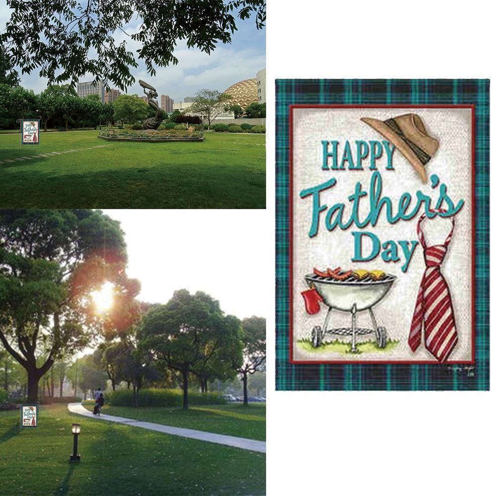 Rost-rote glückliche Vatertags-Grill-Garten-Flaggen-doppelseitiger O5M7 Dek U7H5