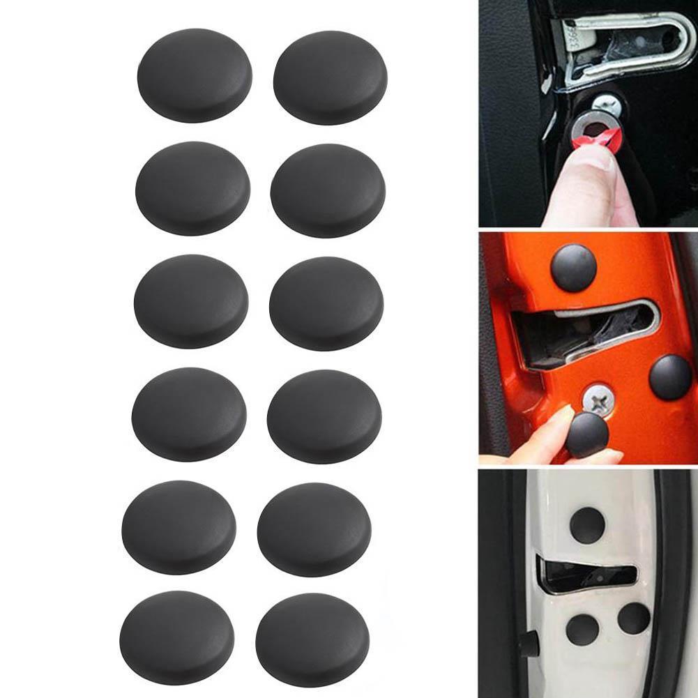 12xCar Vehicle Interior Door Lock Screw Protector Cover Cap Trim Black Universal