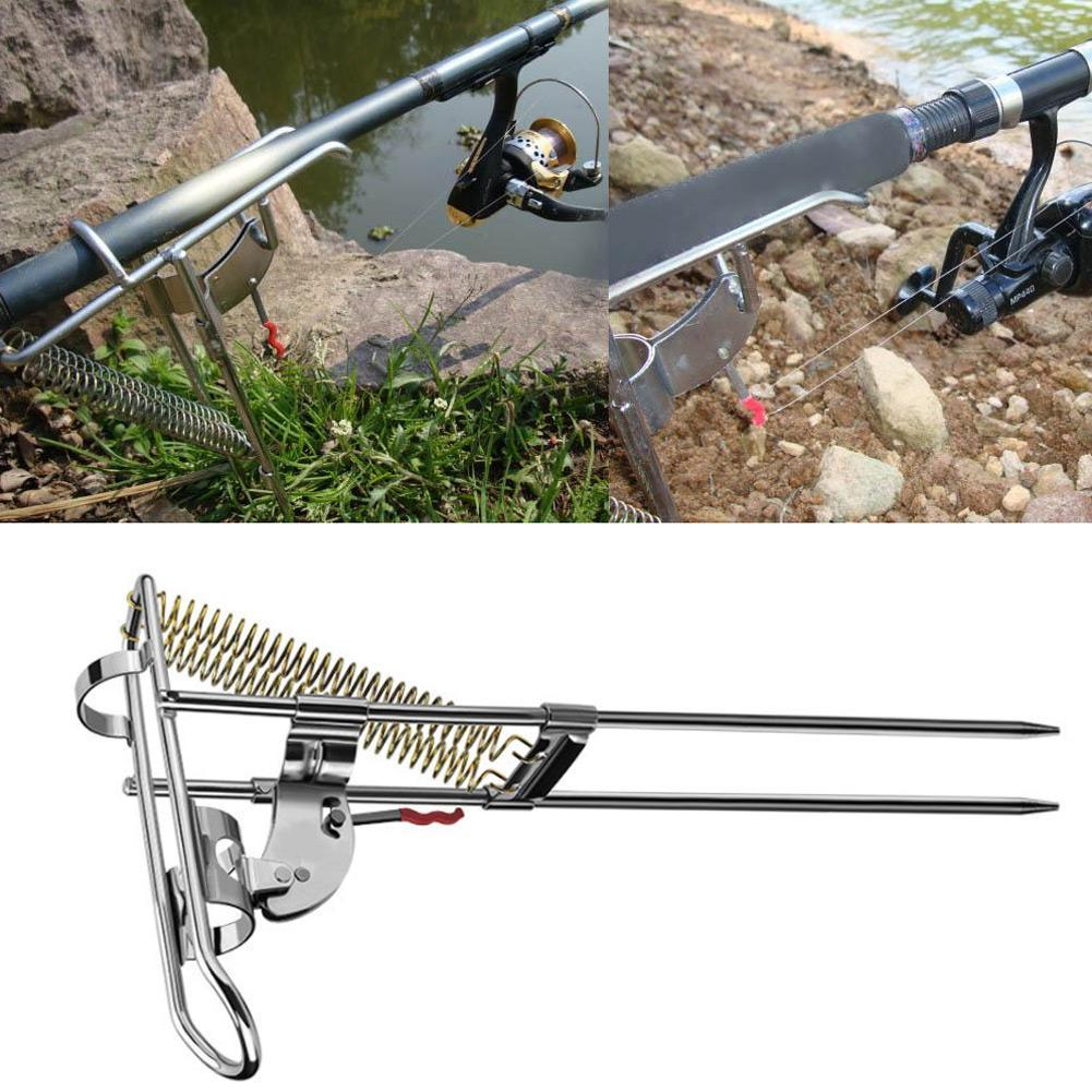 Details about Automatic Spring Fishing Rod Holder Tackle Bracket Pole Ground Stand Support UK