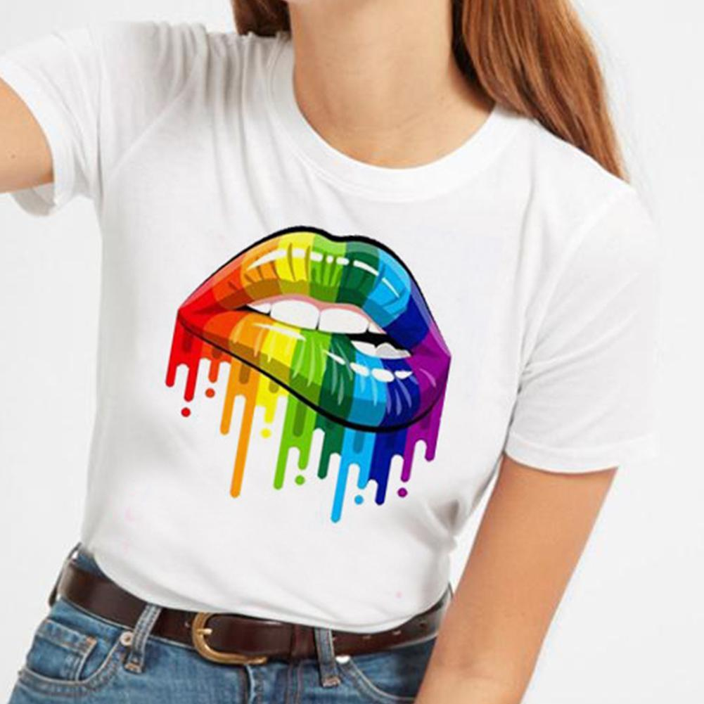 LGBT Lips Gay T-Shirt Pride Rainbow Colours Top Tee Outfit Clothing Lesbian