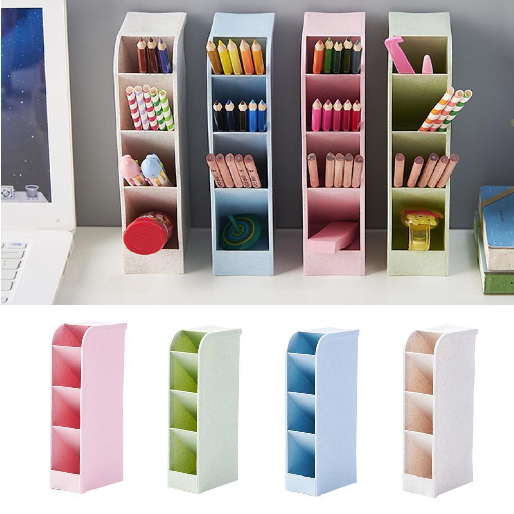 gerFogoo Pencil Pen Holder Desktop Stationery Storage Box Pencil Cup Pot Home Office Desk Tidy Organizer Caddy Grey
