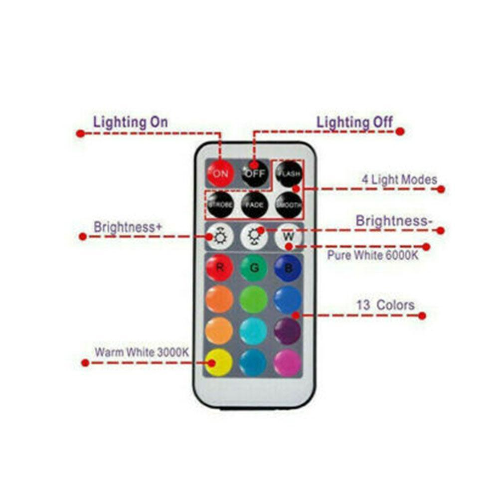 4X Led Light  Remote Control Color Colored Boundary Style Waterproof UK Hotsale