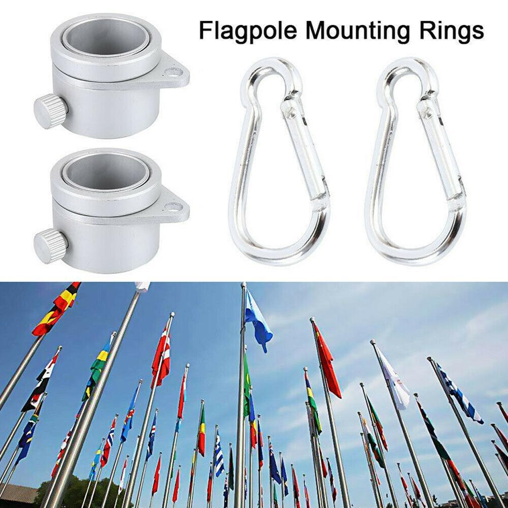 2 Alloy Metal Flag Pole Flagpole Rotating Rings Clip Anti