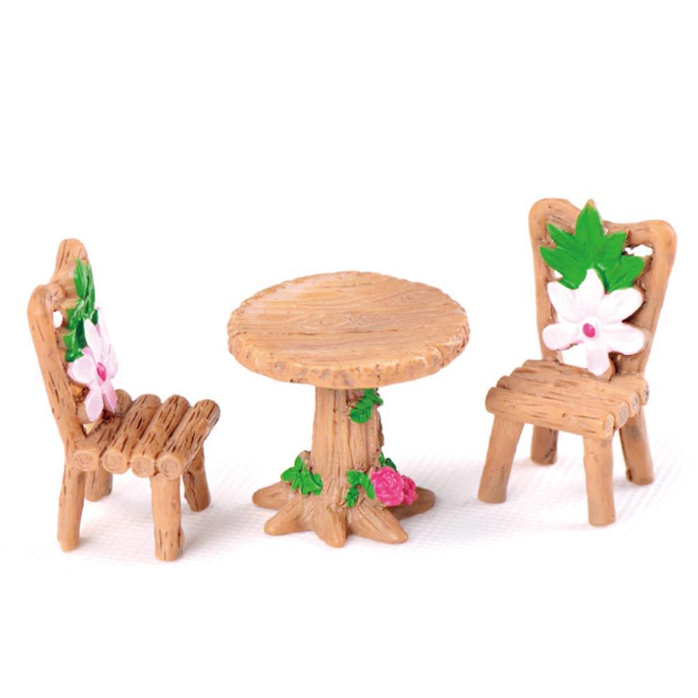 3x DIY Wooden Table Chairs Miniature Landscape Fairy Dollhouse Garden Decor F4N5