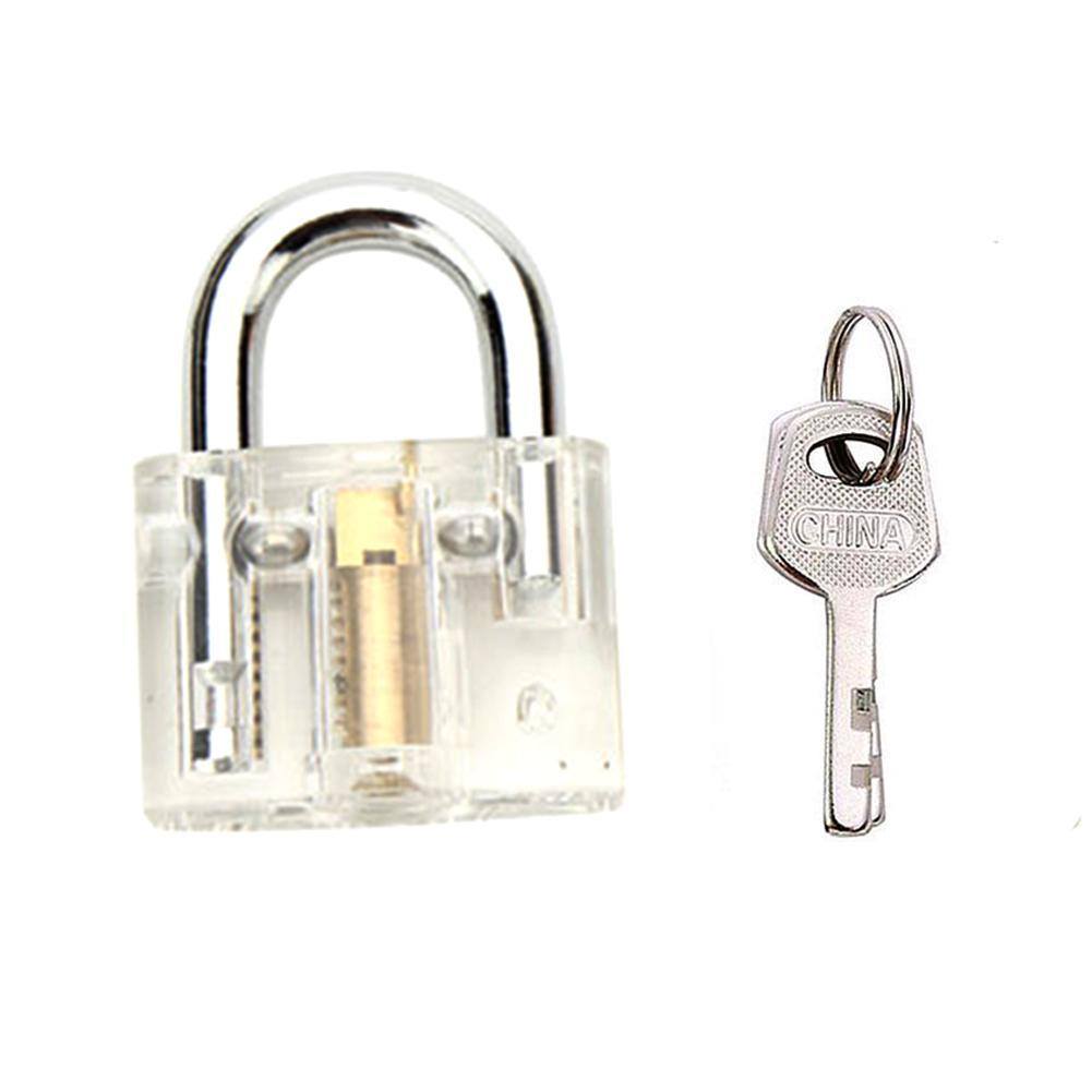Details about Disc Type Transparent Padlock With Detainer Lock Pick Bump  Key Tools Traini Top