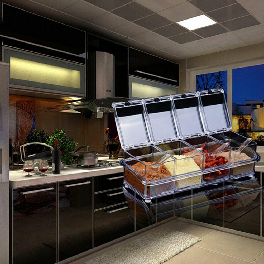 4PCS Kitchen Under Cabinet Shelf Counter LEDs Light Bar Kit