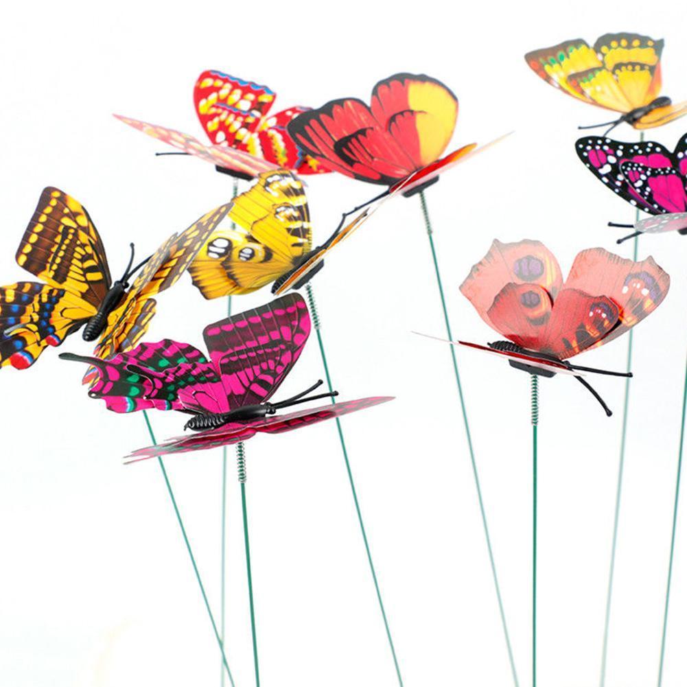 10Pcs Butterfly Yard Metal Decor Garden Outdoor Home Art Lawn Ornaments Pat P4Y5