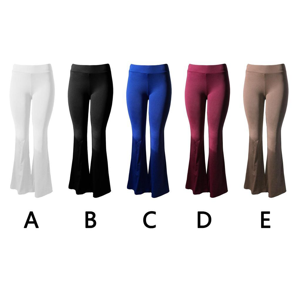 Women Solid High Waist Flare Wide Leg Chic Trousers Bell Bottom Yoga Pants Tq EB
