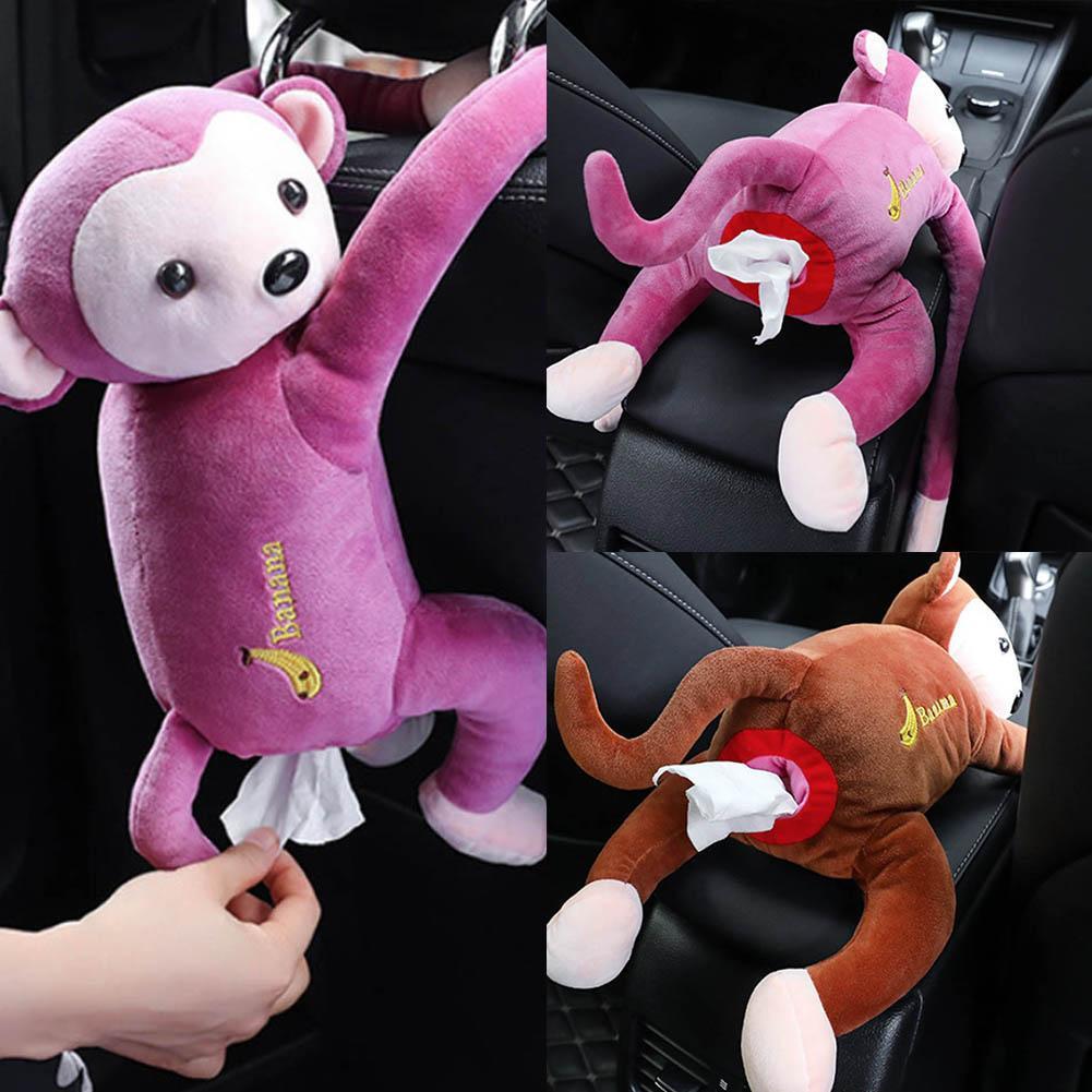 Cute Cartoon Tissue Animal Monkey Car Hanging Paper Napkin Best Cover Holde K7X0