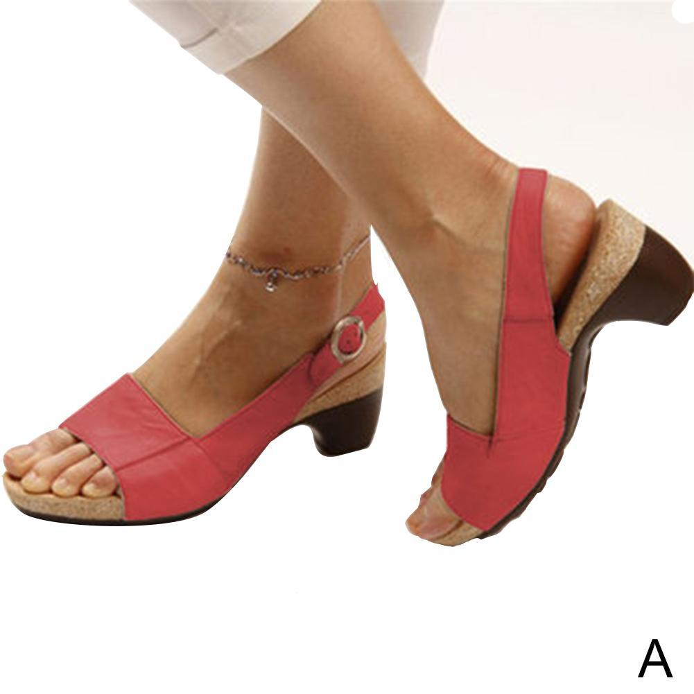 Women's Ladies Ankle Strap Low Block Chunky Heel Shoes
