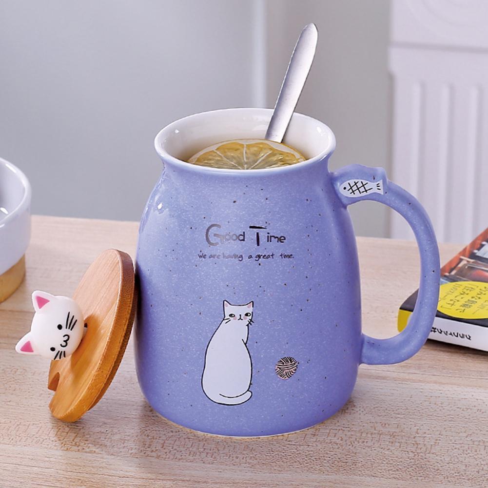 Creative Cat Ceramic Cup Water Mug Tea Coffee Milk Cup Gift With Cover+Spoon diy mug Mugs