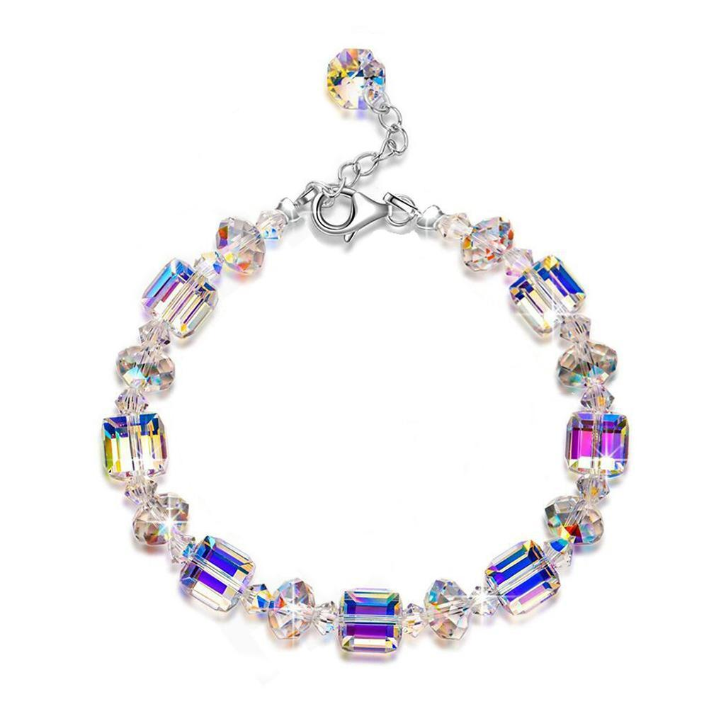 Women/'s Crystal Stretch Bracelet 6.9 Inch White Gold Adjustable Beaded Gifts2019