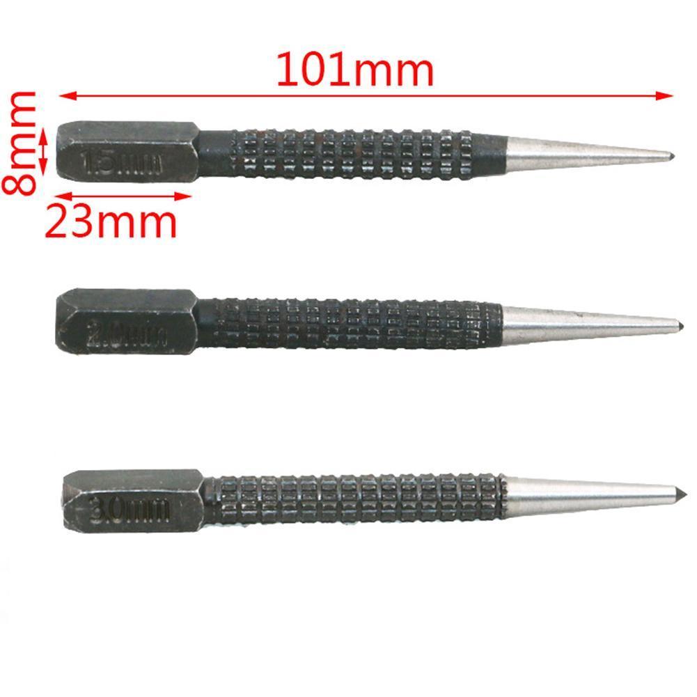 3pcs Non Slip Center Punch Pin Set Alloy Steel Metal Wood Marking Tool C5A2