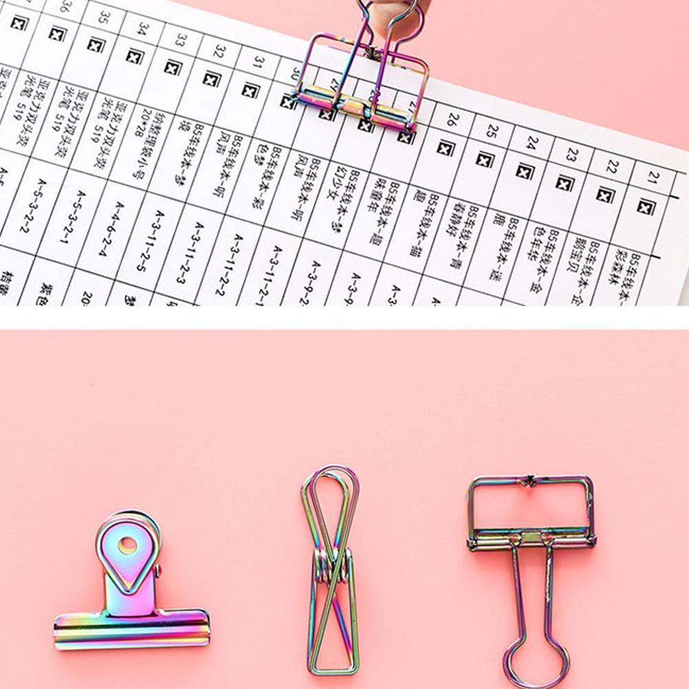 3 STÜCKE Bunte Metallbeschichtung Regenbogen Bill Clip Farbe Bürobedarf Bür V6V8