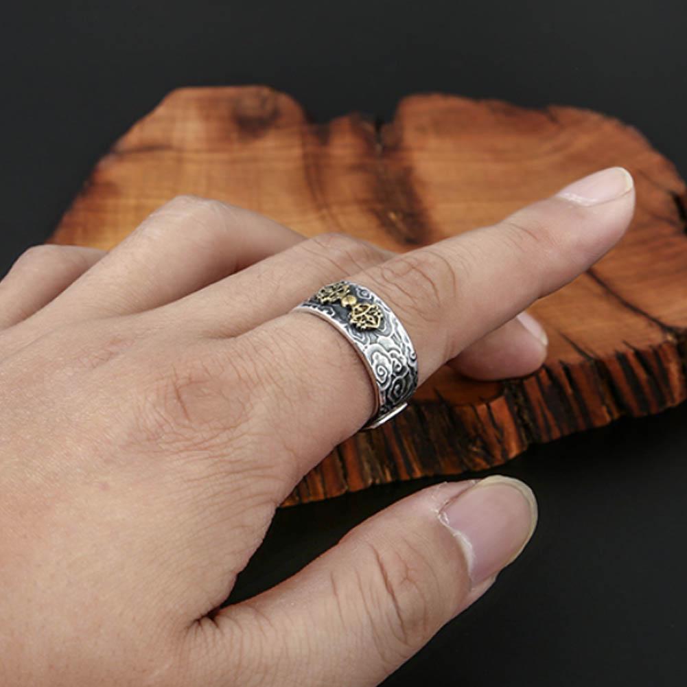 Pixiu Protection Wealth Ring Silber Buddhist Feng Shui Nett Mann Frau Schmu P4M3