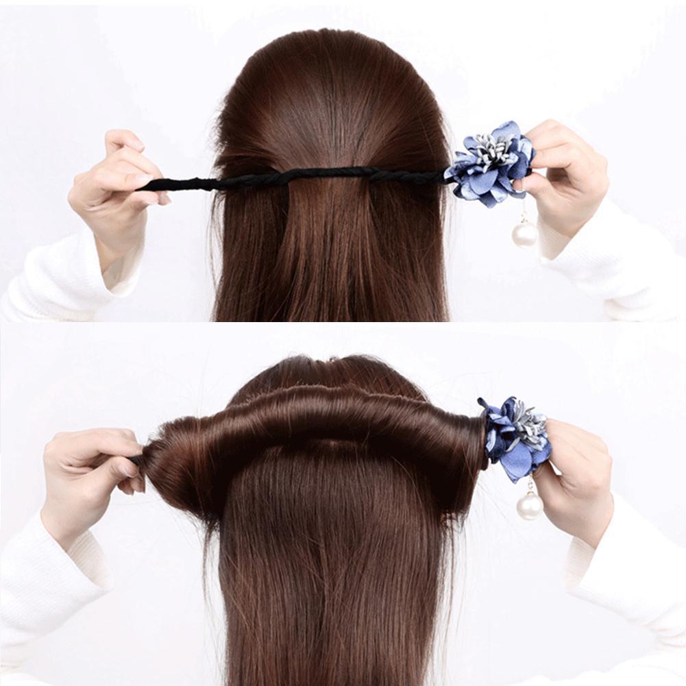 Frauen-wilder Haar-Ring-Perlen-Blumen-magischer Brötchen-Hersteller DIY Haar,