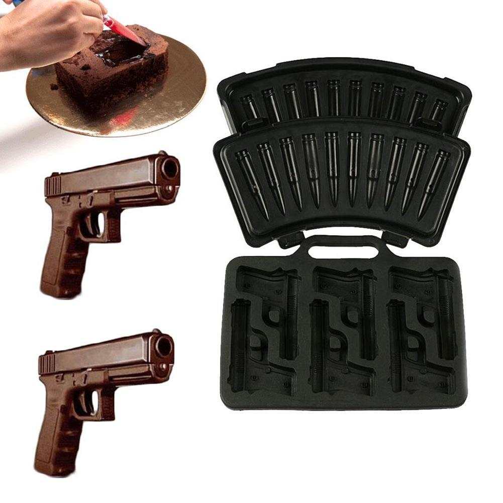AWESOME Gun Pistol Novelty Ice Drinks Cocktail Tray Silicone Mould Funny