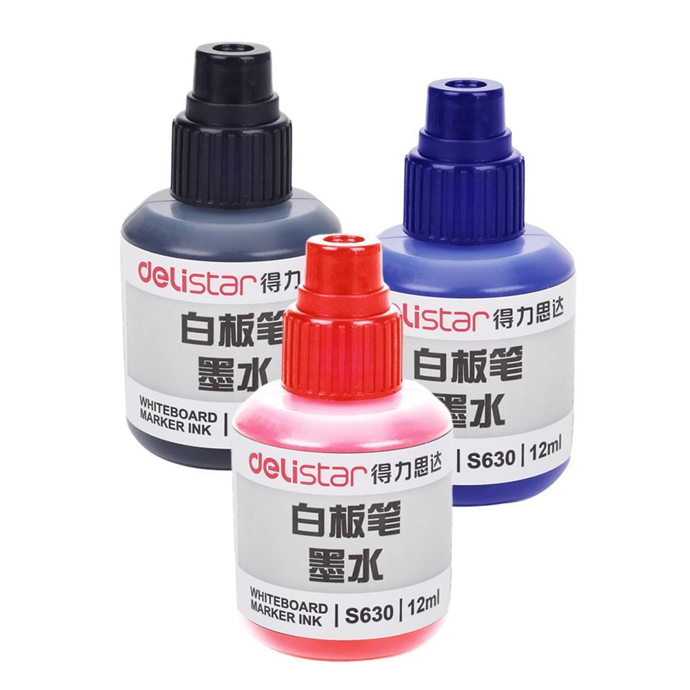 Deli Refill WHITE BOARD INK Black Blue Red Whiteboard Pen Marker 12m No Toxic NE