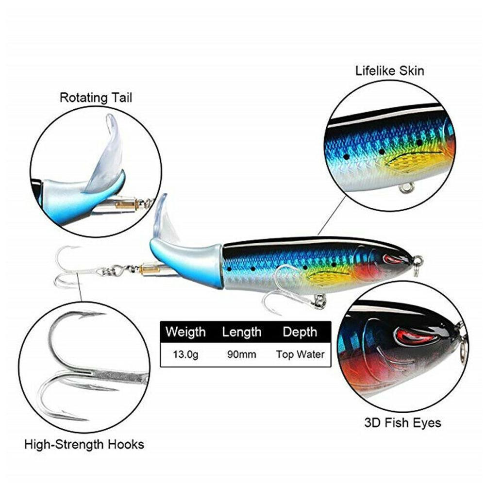 """Castalia Trick Fisch 6/"""" 2 1//4 oz Swim Bait Glass Tail Rattle Black Shad TF6-105"""