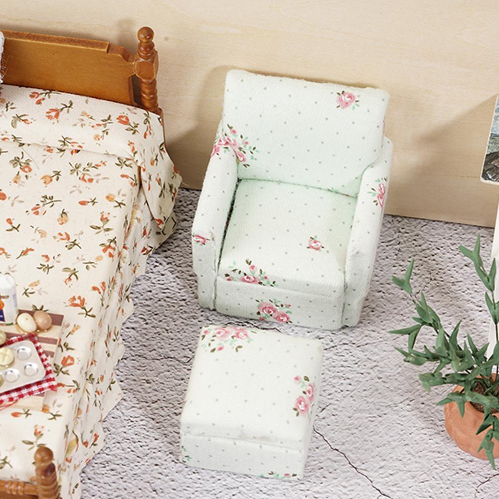 Mini Polstersessel Stuhl Hocker Lounge Club Kinder 1:12 Puppenhaus Heiß
