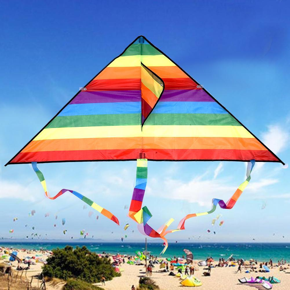 Large Delta Kite For Kids And Adults Single Line Easy To w// Fly Handle Kite Q6V7