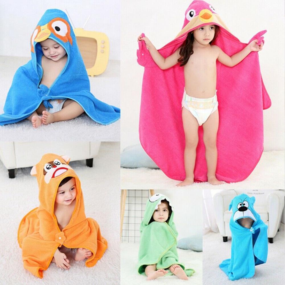 Cute Baby Bath Towel Coral Fleece Blanket Infant Hooded Wrap Bathrobe Animal