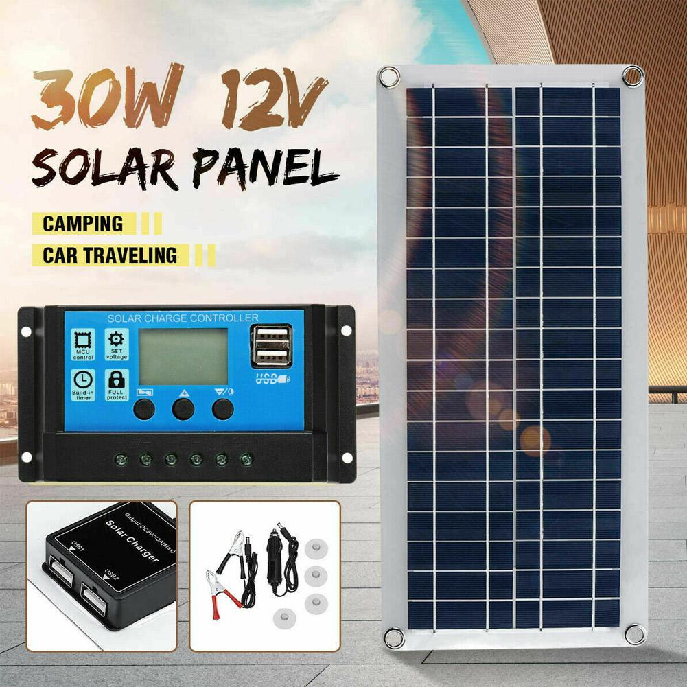 30W Dual USB Flexibles Solarpanel Kit Clip Outdoor Auto Lade X3J7 Controller
