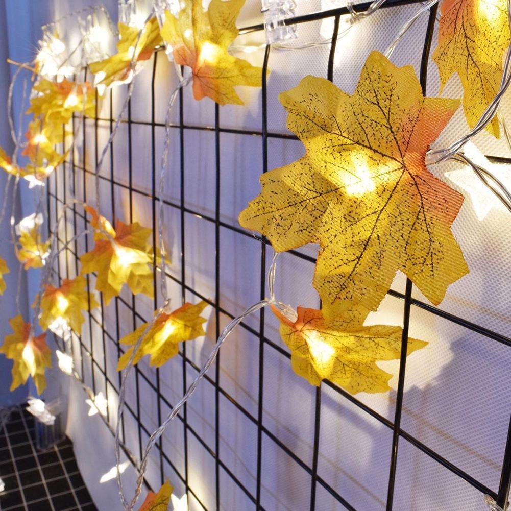 2M LED Lichterkette beleuchtet Herbst Herbst Maple Thanksgiving Leaves Garl W5E1