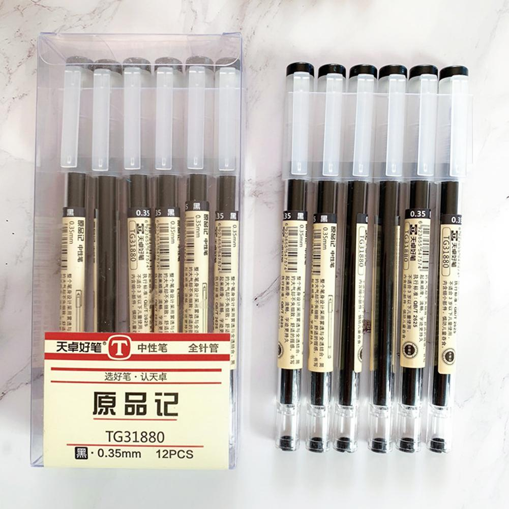 12 Pcs//lot Brief Style Ballpoint Gel Ink Pen 0.35mm Supplies Black Red Scho G6B2