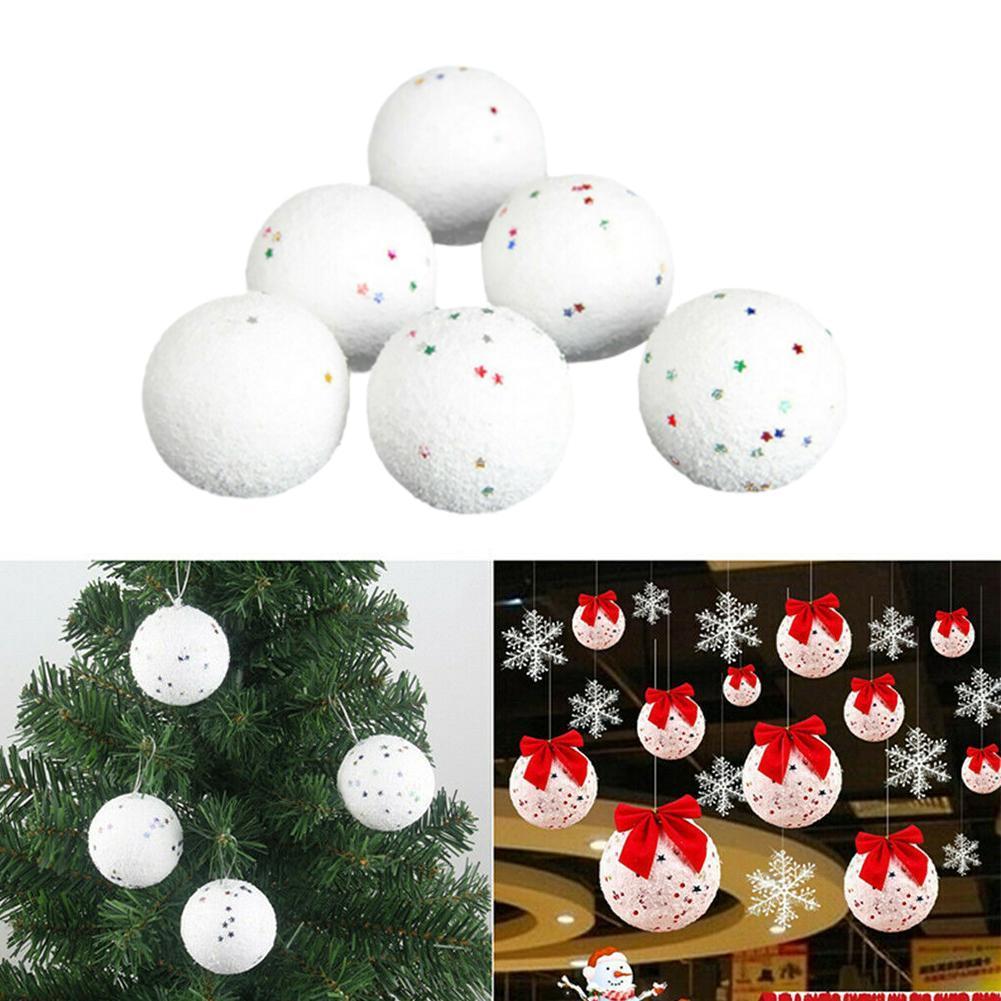 6X Set Weihnachtsbaum Dekoration Kugel 6Cm Blase Stern Anhänger Weihnachtsk P7E9