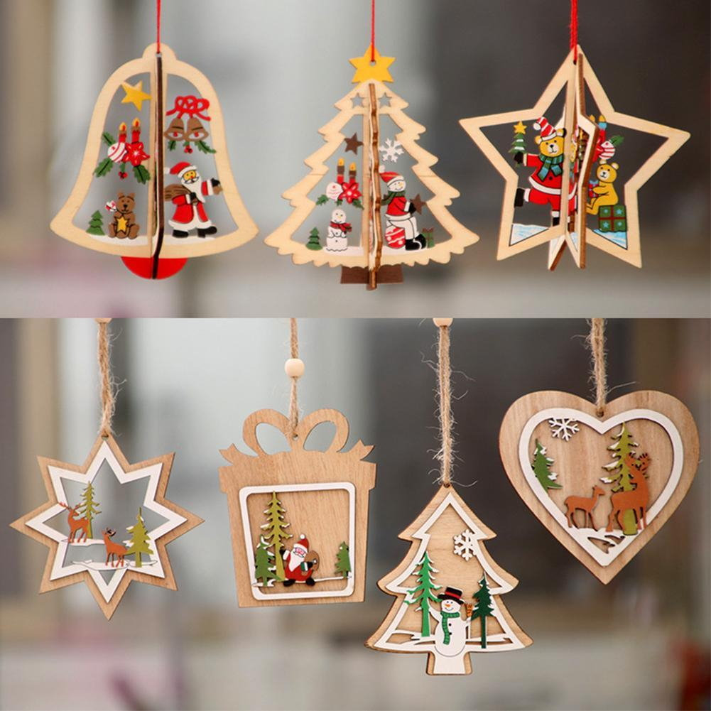 LED Wooden Doll Pendant Cute Christmas Tree Hanging Ornaments Holiday Decoration