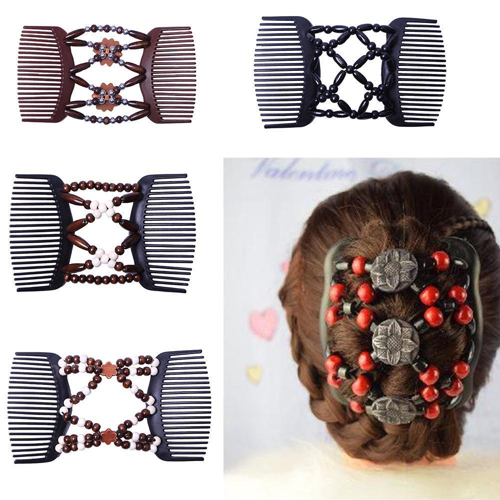 EG/_ Women Wooden Beads Magic Hair Comb Slide Clip Lady Hairpin Style Headwear Ne