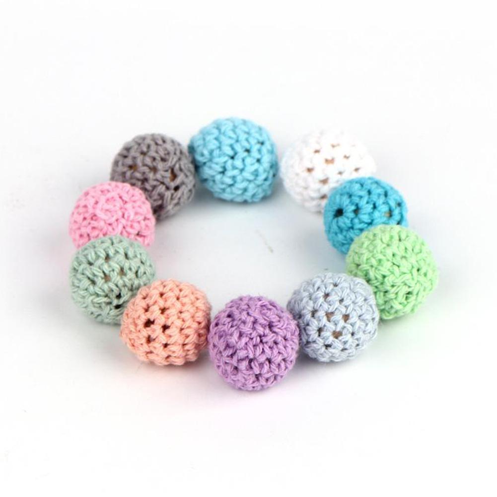 10 Häkeln Holzperlen Ball für Baby Beißring Schnullerkette DIY Halskette Beste